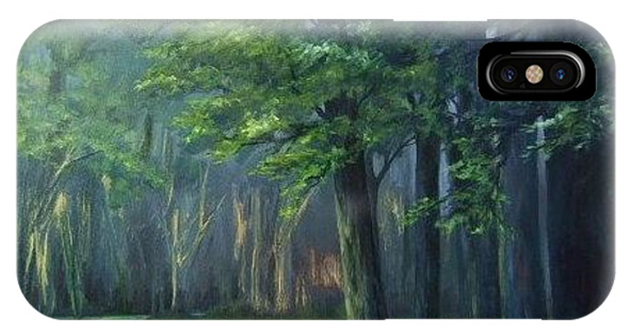 Landscape Trees IPhone X Case featuring the painting Woodland Daffodils by Ruth Stromswold