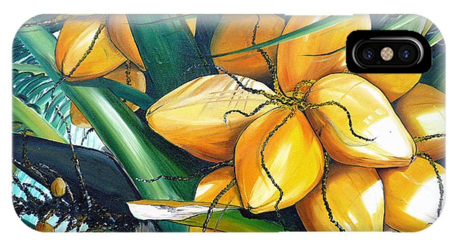 Coconut Painting Botanical Painting  Tropical Painting Caribbean Painting Original Painting Of Yellow Coconuts On The Palm Tree IPhone X Case featuring the painting Yellow Coconuts by Karin Dawn Kelshall- Best