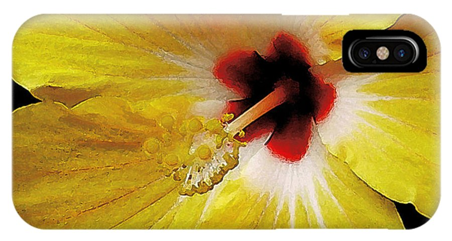 Hawaii Iphone Cases IPhone X Case featuring the photograph Yellow Hibiscus With Red Center by James Temple