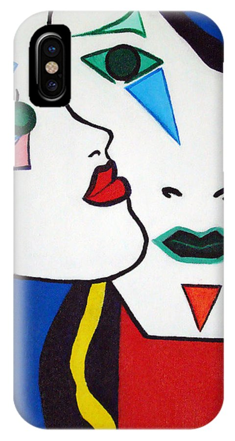 Pop-art IPhone X Case featuring the painting You - I by Silvana Abel