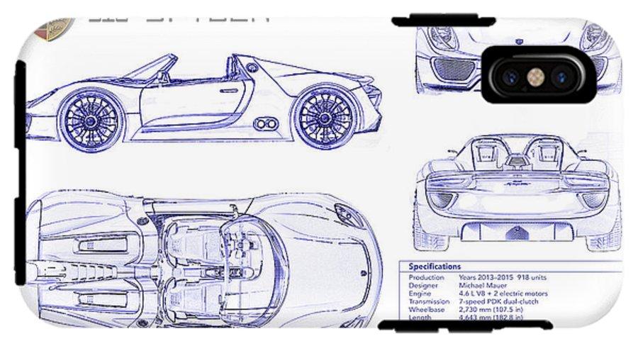 Porsche 918 Spyder Blueprint Iphone X Tough Case