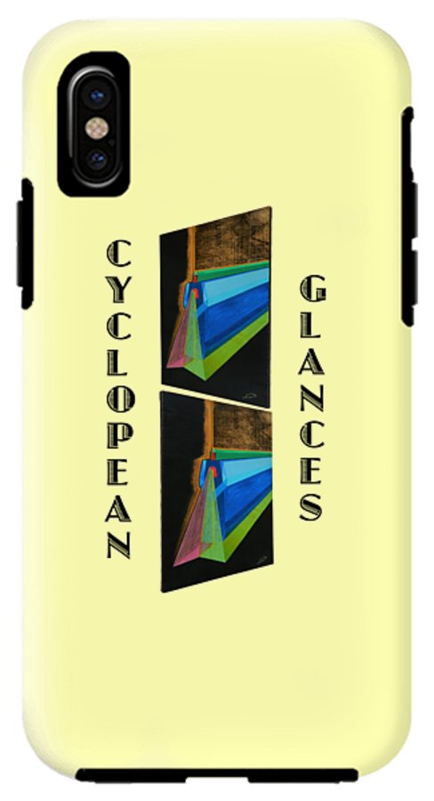 Art IPhone X Tough Case featuring the painting Cyclopean Glances Hermite by Michael Bellon