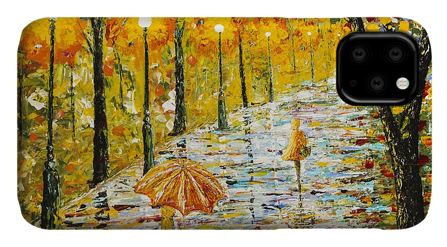Rainy Day IPhone Case featuring the painting Rainy Autumn Beauty Original Palette Knife Painting by Georgeta Blanaru