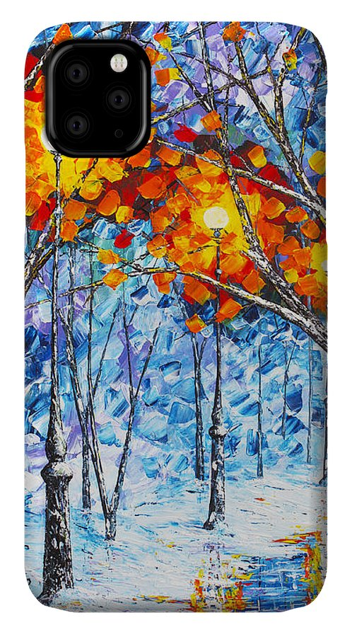 Winter Landscape IPhone Case featuring the painting Silence Winter Night Light Reflections Original Palette Knife Painting by Georgeta Blanaru