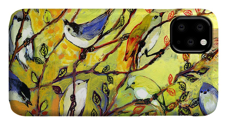 Bird IPhone Case featuring the painting 16 Birds by Jennifer Lommers