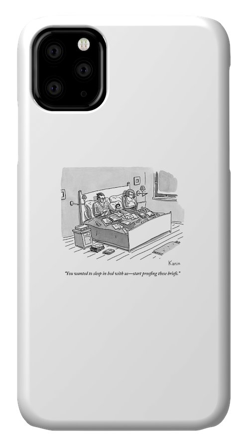 Parents IPhone Case featuring the drawing A Boy Lays In Bed Between His Parents by Zachary Kanin