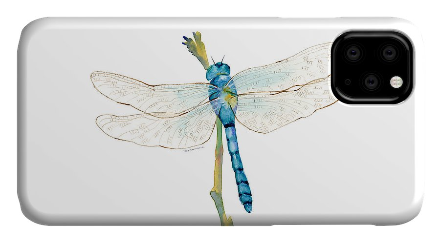 Blue IPhone Case featuring the painting Blue Dragonfly by Amy Kirkpatrick