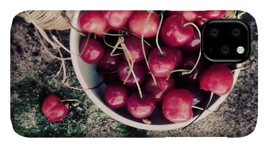 Summer IPhone 11 Case featuring the photograph Cherries! by Emanuela Carratoni