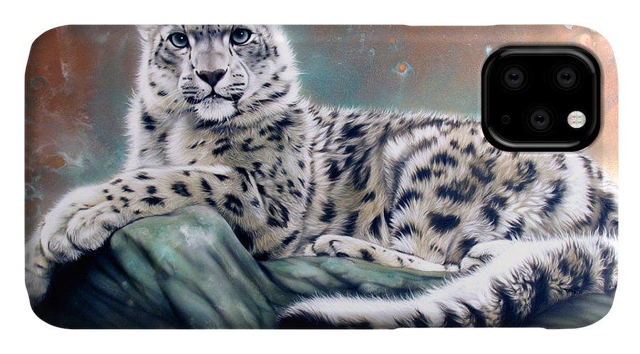 Copper IPhone Case featuring the painting Copper Snow Leopard by Sandi Baker