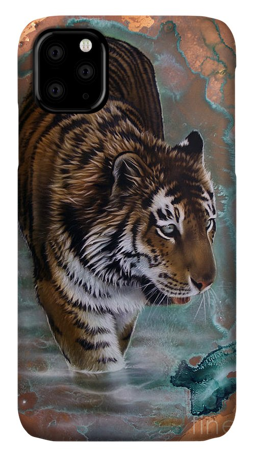 Copper IPhone Case featuring the painting Copper Tiger I by Sandi Baker