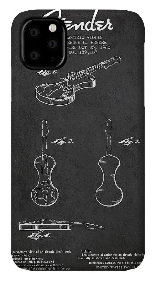 Violin IPhone Case featuring the digital art Electric Violin Patent Drawing From 1960 by Aged Pixel