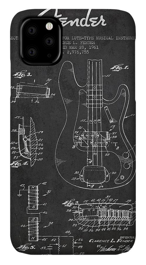 Fender IPhone Case featuring the digital art Fender Guitar Patent Drawing From 1961 by Aged Pixel