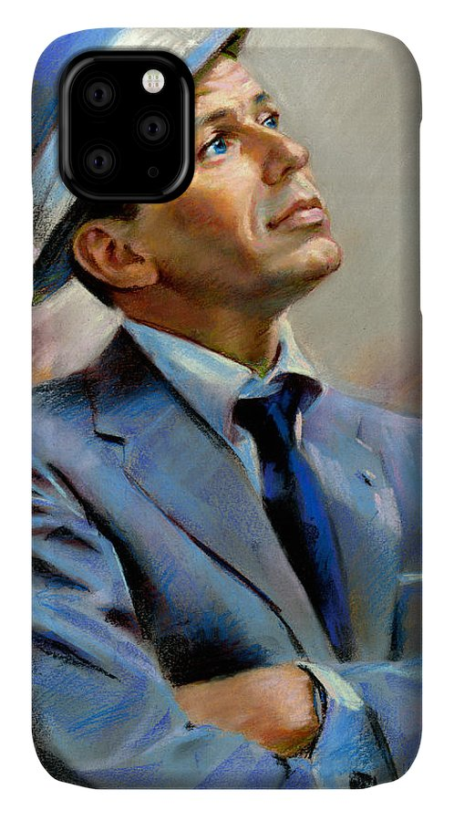 Francis frank Sinatra IPhone Case featuring the pastel Frank Sinatra by Ylli Haruni