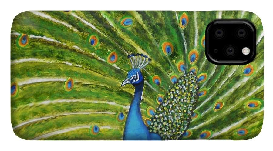 Peacock India Bird Green Landscape Rajasthan Beauty Dance Feathers Eyes Orange Turquoise IPhone Case featuring the photograph Glorious Peacock by Manjiri Kanvinde