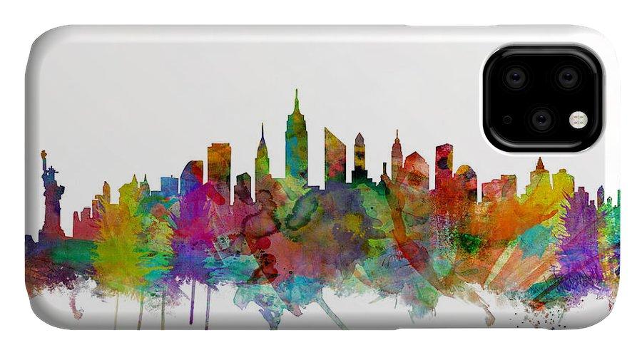 New York IPhone 11 Case featuring the digital art New York City Skyline by Michael Tompsett
