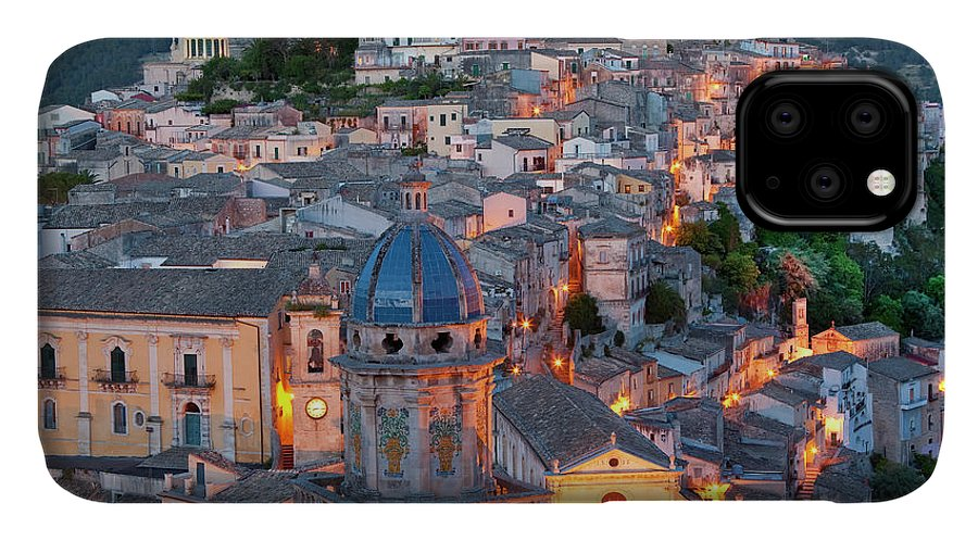 Architecture IPhone Case featuring the photograph Ragusa At Dusk, Sicily, Italy by Peter Adams