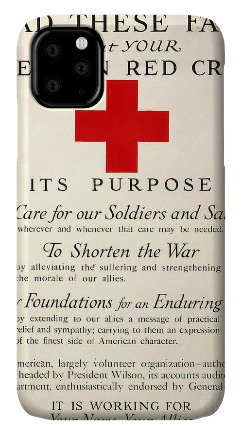 1917 IPhone Case featuring the photograph Red Cross Poster, 1917 by Granger