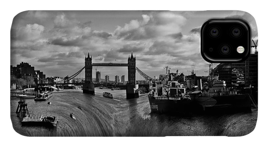 Waterfall IPhone 11 Case featuring the photograph River Thames Waterfall by David Pyatt