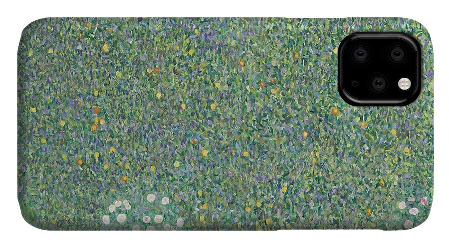 Gustav Klimt IPhone Case featuring the painting Rosebushes Under The Trees by Gustav Klimt