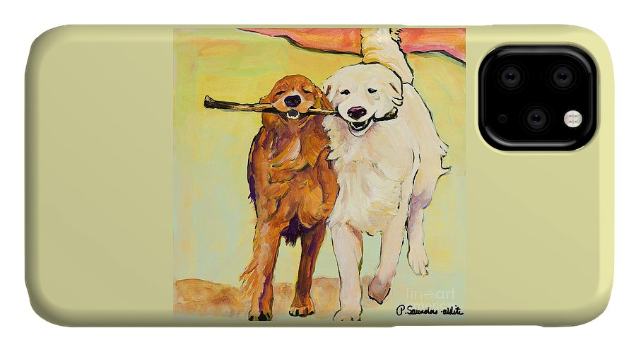 Pat Saunders-white IPhone 11 Case featuring the painting Stick With Me by Pat Saunders-White
