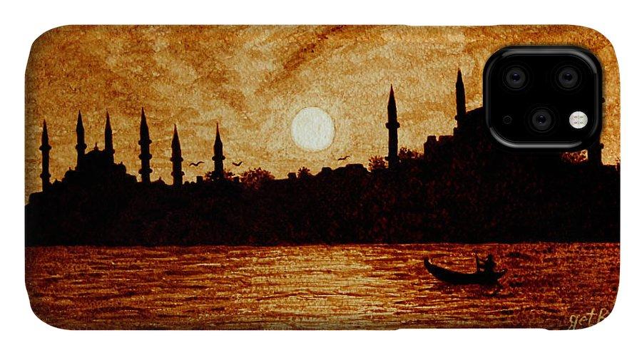 Sunset Over Istanbul Coffee Painting Art IPhone Case featuring the painting Sunset Over Istanbul Original Coffee Painting by Georgeta Blanaru