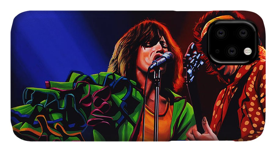 The Rolling Stones IPhone Case featuring the painting The Rolling Stones 2 by Paul Meijering
