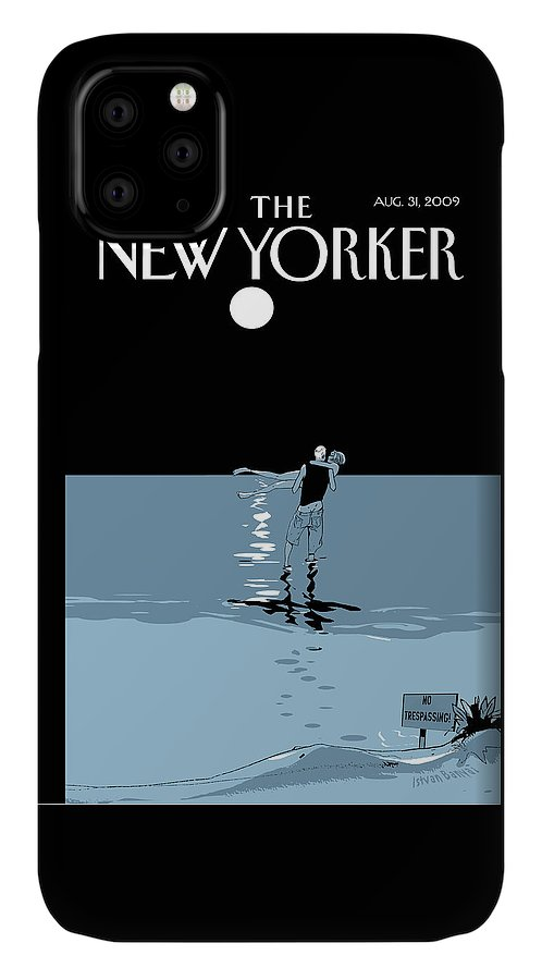 Beach IPhone Case featuring the painting New Yorker August 31st, 2009 by Istvan Banyai