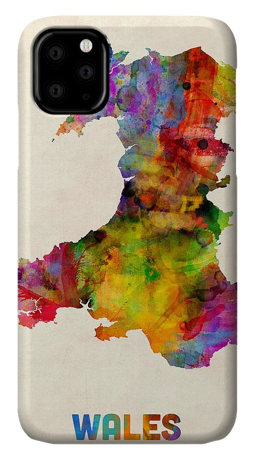 Map Art IPhone 11 Case featuring the digital art Wales Watercolor Map 1 by Michael Tompsett