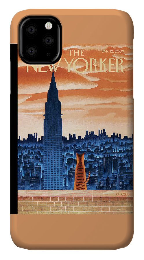 Nyc IPhone 11 Case featuring the painting New Yorker January 12th, 2009 by Mark Ulriksen