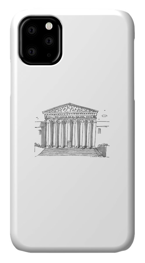 Call 1-800-justice For All Your Legal Needs IPhone Case featuring the drawing Captionless by Michael Crawford