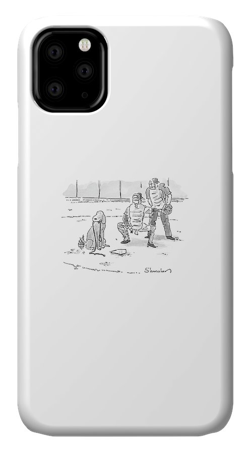 Sports Pets Dogs Baseball Homeplate Walk IPhone Case featuring the drawing New Yorker October 10th, 2005 by Danny Shanahan