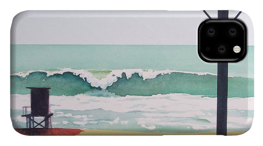 Surf IPhone Case featuring the painting 14th Street Huntington Beach by Philip Fleischer