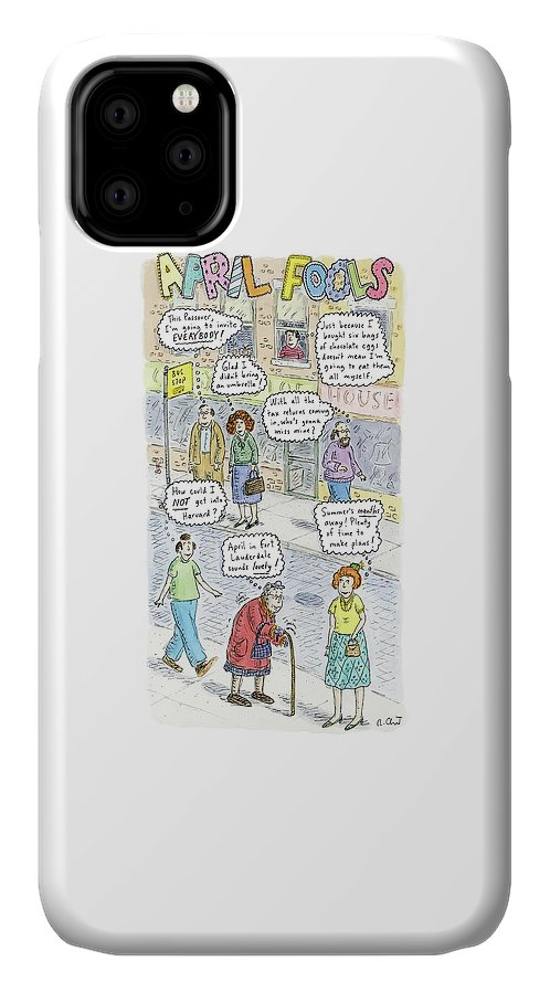 April IPhone Case featuring the drawing New Yorker April 2nd, 2007 by Roz Chast