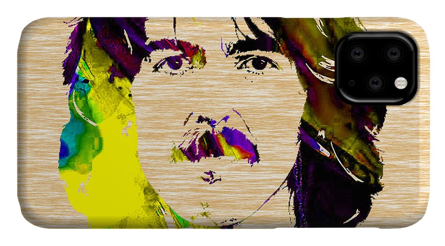 George Harrison Art IPhone Case featuring the mixed media George Harrison Collection by Marvin Blaine