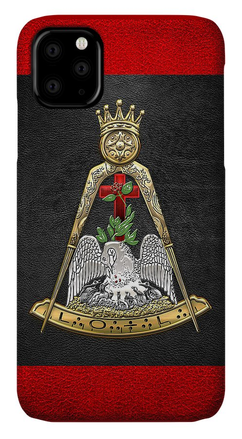 'ancient Brotherhoods' Collection By Serge Averbukh IPhone Case featuring the digital art 18th Degree Mason - Knight Rose Croix Masonic Jewel by Serge Averbukh