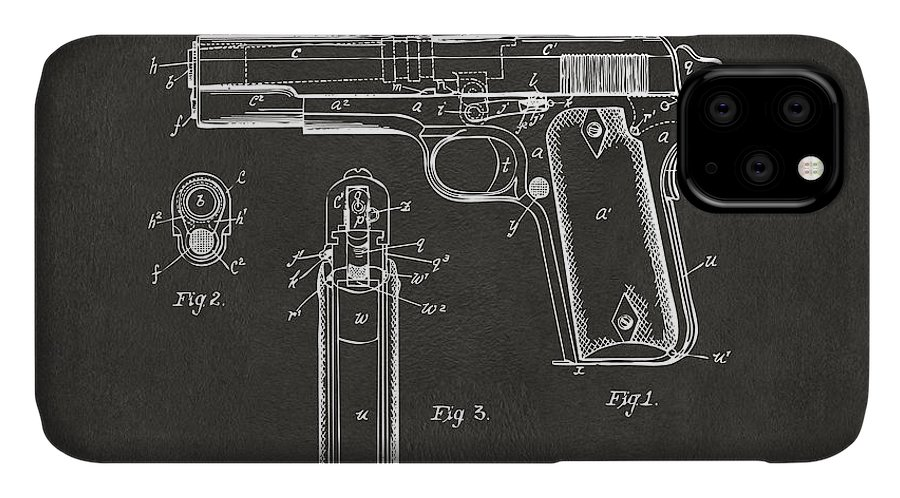 Colt 45 IPhone Case featuring the digital art 1911 Browning Firearm Patent Artwork - Gray by Nikki Marie Smith