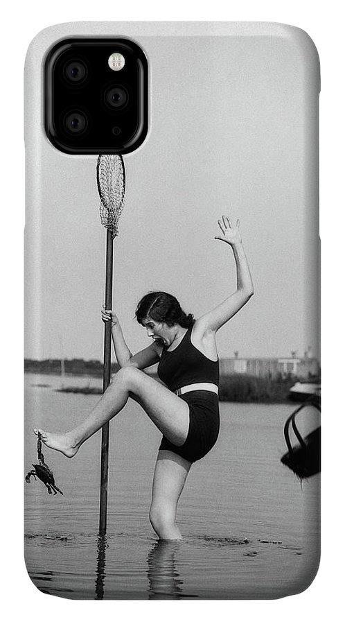 Photography IPhone 11 Case featuring the photograph 1920s Woman Crabbing Surprised By Crab by Vintage Images