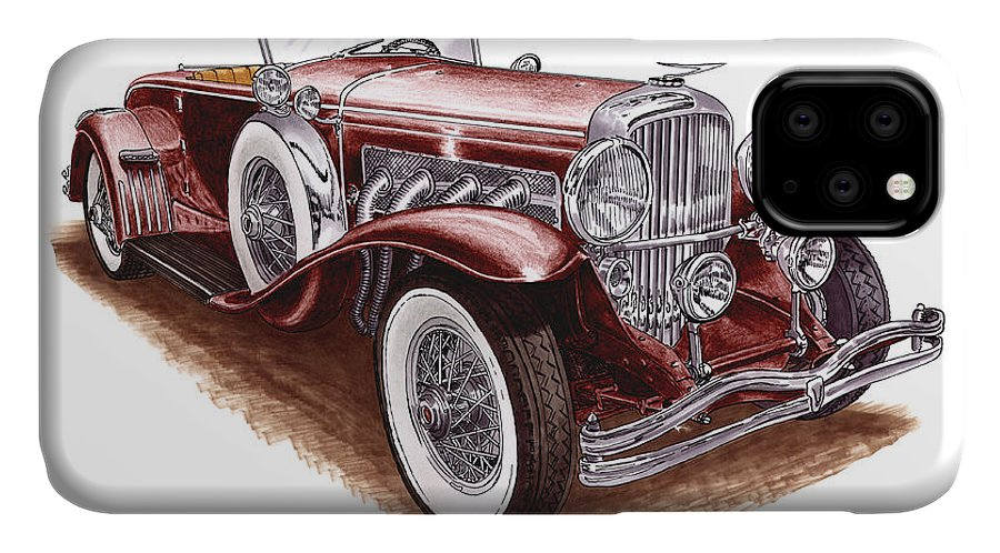 An Art Print Using Colored Pencils Of A 1930 Duesenberh Model J Roadster Coupe IPhone 11 Case featuring the mixed media 1930 Dusenberg Model J by Jack Pumphrey