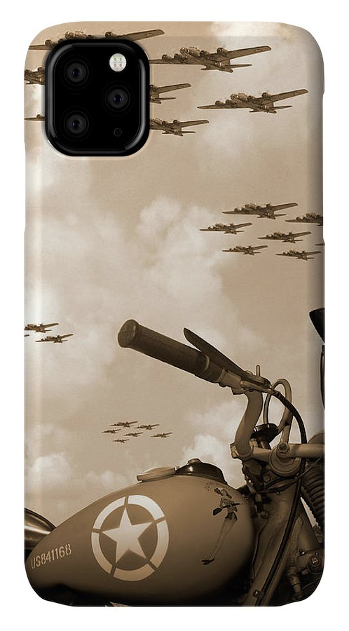 Warbirds IPhone Case featuring the photograph 1942 Indian 841 - B-17 Flying Fortress' by Mike McGlothlen