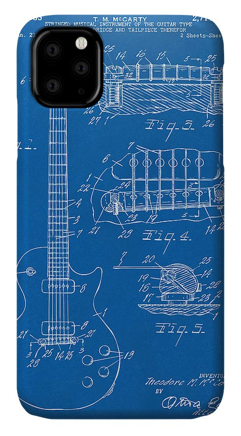 Guitar IPhone Case featuring the digital art 1955 Mccarty Gibson Les Paul Guitar Patent Artwork Blueprint by Nikki Marie Smith