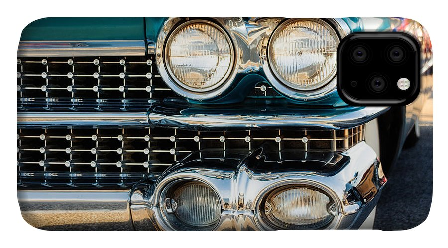 Cadillac IPhone 11 Case featuring the photograph 1959 Cadillac Sedan Deville Series 62 Grill by Jon Woodhams
