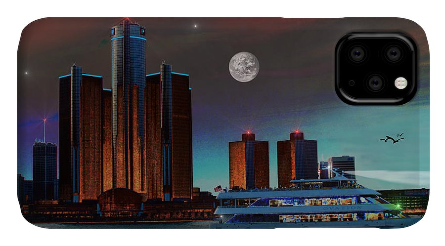 Detroit IPhone Case featuring the painting Detroit Skyline by Michael Rucker