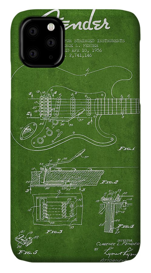 Fender IPhone Case featuring the digital art Fender Tremolo Device Patent Drawing From 1956 by Aged Pixel