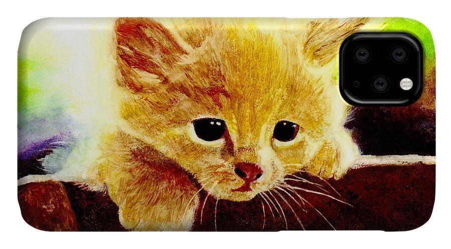 Kitten IPhone Case featuring the painting Yellow Kitten by Hailey E Herrera