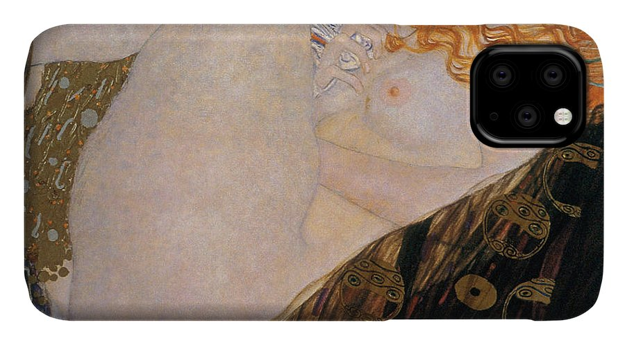 Gustav Klimt IPhone Case featuring the painting Danae by Gustav Klimt