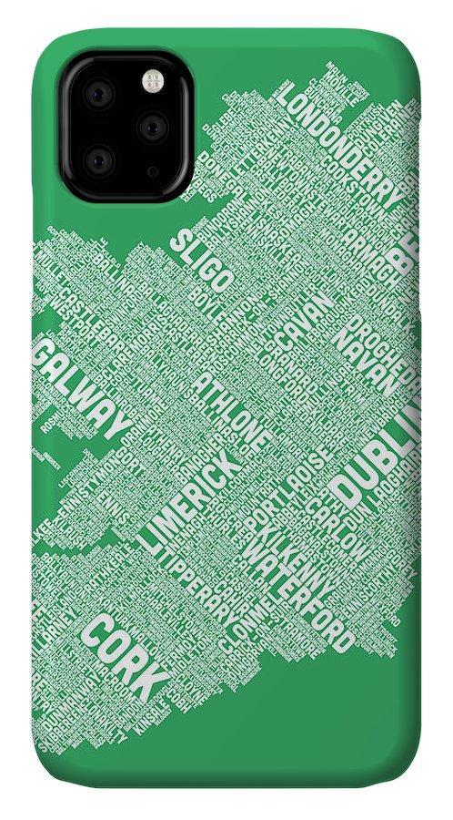 Ireland Map IPhone Case featuring the digital art Ireland Eire City Text Map by Michael Tompsett