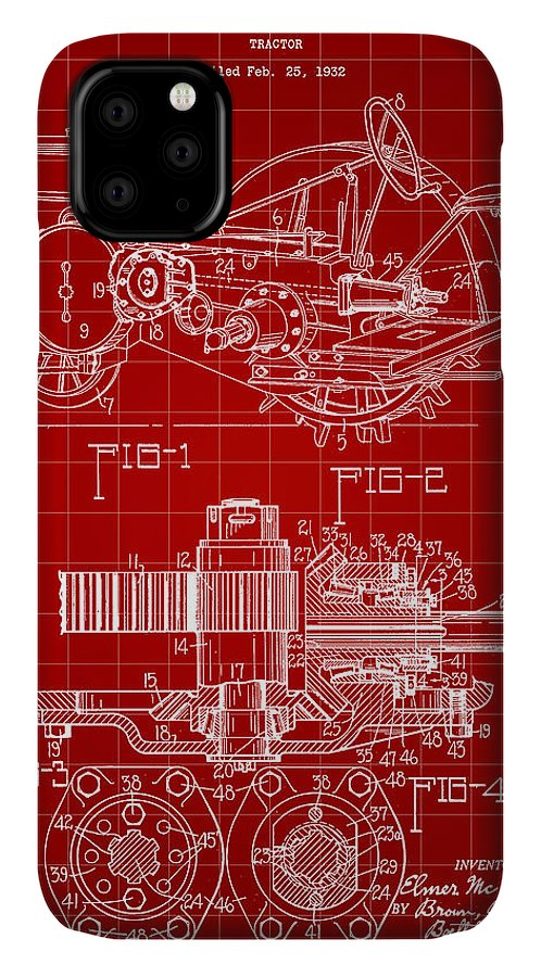 John Deere IPhone Case featuring the digital art John Deere Tractor Patent 1932 - Red by Stephen Younts