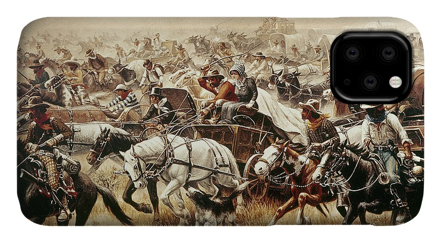 1889 IPhone Case featuring the painting Oklahoma Land Rush, 1889 4 by Granger