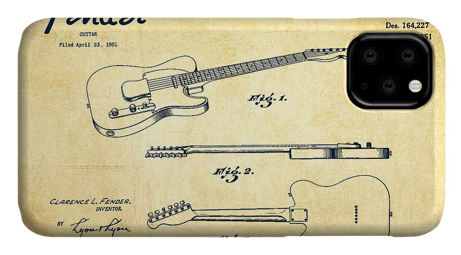Fender IPhone Case featuring the drawing Vintage Fender Guitar Patent Drawing From 1951 by Aged Pixel