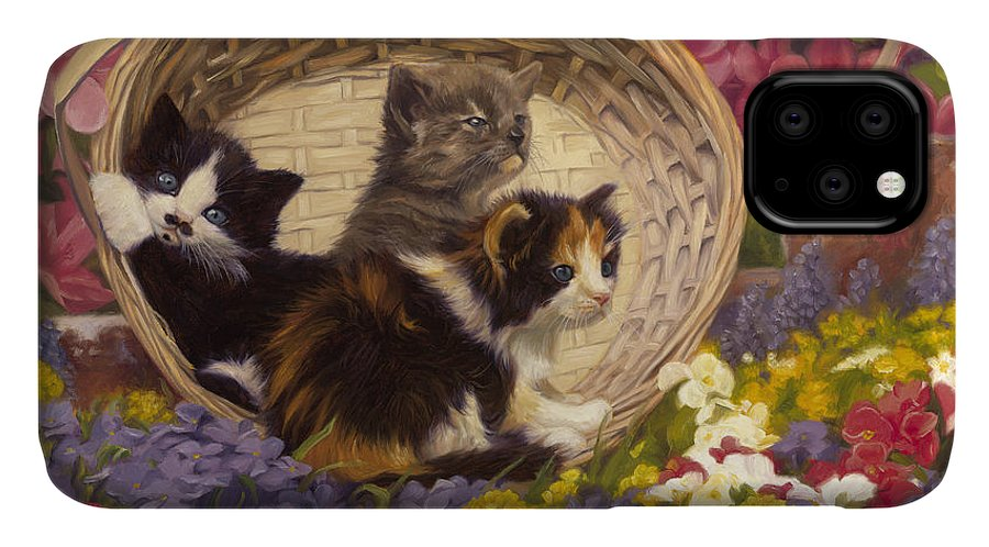 Cat IPhone Case featuring the painting A Basket Of Cuteness by Lucie Bilodeau